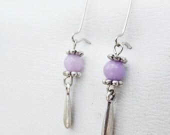 Zen Inspired Genuine Purple Jade Drop Earrings