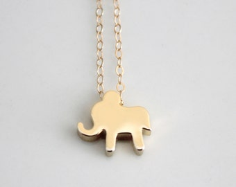Elephant Necklace, Gold Elephant Charm