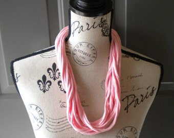 Jersey Scarf Necklace in Pink
