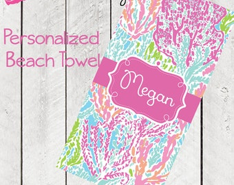 Personalized Beach Towel Coral