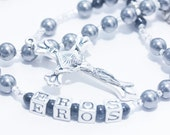 Personalized Rosary for Baby Boy Baptism in silver and black