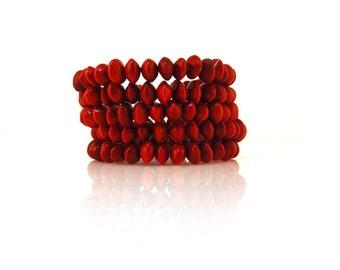 Vintage Red Seed Memory Wire Bracelet Beaded