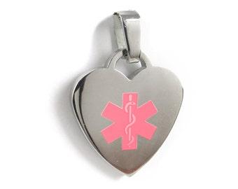 Heart Medical ID Pendant, Steel, Pink Symbol - P5C
