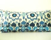 Electric Blue Pillow, Lumbar bed pillow, Bohemian Bedding, Navy Blue and Light Blue Ikat Long Pillow, blue ikat pillows, 28x14 inches