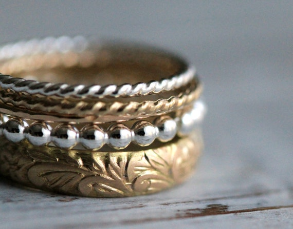 Personalized 5 Stacking Ring Set- Gold, Gold Filled & Sterling Silver Ring Combination w Secret Message by Pale Fish NY. R006
