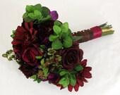 Wedding Bride or Bridesmaid Bouquet - Purple, Wine Hydrangea, Rose, Gerbera Daisy, Mixed Pink Bouquet, Fall Wedding - USED