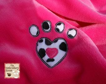 Appliqued Dog Blanket - Dalmatian Heart Paw Print