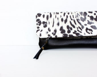 Leather animal print fold over clutch, zippered purse bag wallet, black white cotton canvas