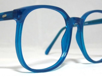 Eyeglass Frames Blue Moon : Vintage 80s Large Square Horn Rim Eyeglass Frames. Bright