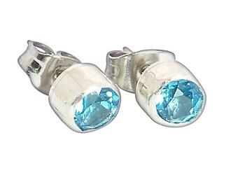 Blue Topaz and Sterling SIlver Post Earrings  etopd2295