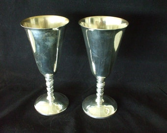"""Silver Plate Wine Goblets (2) , - Grapevine Motif Stem - Stamped Plator - Made in Spain - 7"""" Tall - Wedding - Party - #5770"""