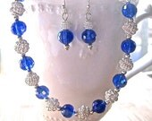 Deep Blue Crystal and Sparkly Silver Choker Necklace Earring Set