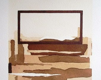 Original painting coffee Abstract modern contemporary brown tan sepia white Tectonic Mirage