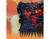 Natural wool black felted brooch/pin