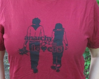 Anarchy is for Lovers Shirt, Large, Red Unisex Tshirt - anarchy print couple flowers punk cute cherry marroon banksy style love heart life