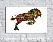 """Stellar Stallion - 36 x 24 Original Abstract Horse Art Painting, Metallic Gold & Silver Acrylic effects """"one-of-a-kind"""" on wrapped canvas."""