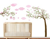 Branch wall decal - Baby girl nursery tree branch decal flowers birds wall decal sticker