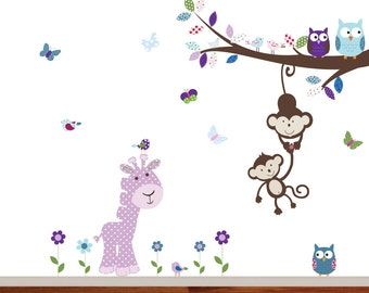 Children's Vinyl Wall Nursey Decal Branch with Animals