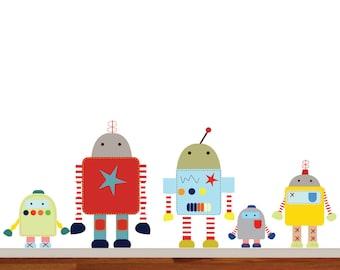 Nursery Wall Decal Robots Boys Nursery Decal Set