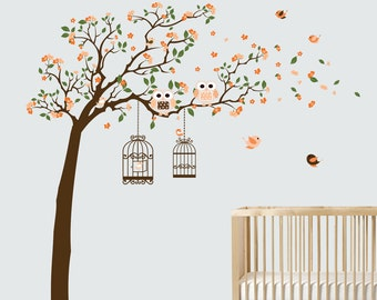 Nursery Vinyl Wall Tree Decal with Flowers Birds Owls and Birdcages