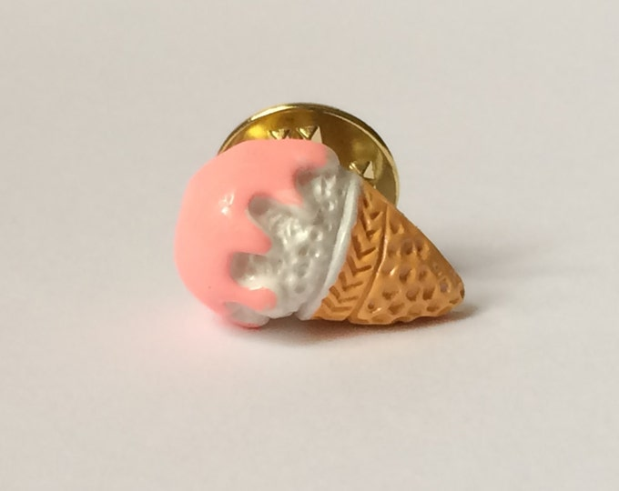 Ice Cream Cone Pin, Brass, Ice Cream Lapel Pin, Tie Tack, miniature food, foodie, brooch, broche
