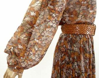 Vintage 1970s Semi Sheer Dress Copper Brown Floral Shirtwaist Dress / Medium U.S. 8