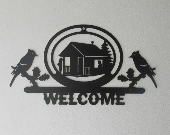 Welcome Sign Metal Wall Hanging Decor