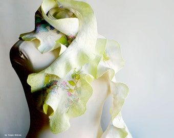 Spring bright ruffled nuno felted scarf lime green flowers silk - gift for her OOAK