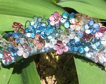 Crowning the May Queen:  tiara in enammel flowers, wire, and crystals