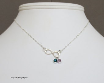 Choose Your Birthstones Swarovski Crystal Infinity Sterling Silver Necklace Friend Mother Sister Wife Gift Idea