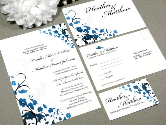 Floral Swirl Corners Wedding Invitation Set by RunkPock Designs : Flower Ombre Script Invitation Suite shown in black and royal cobolt blue