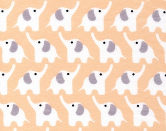 Organic FLANNEL Fabric - Cloud9 Fanfare Elephants Pink