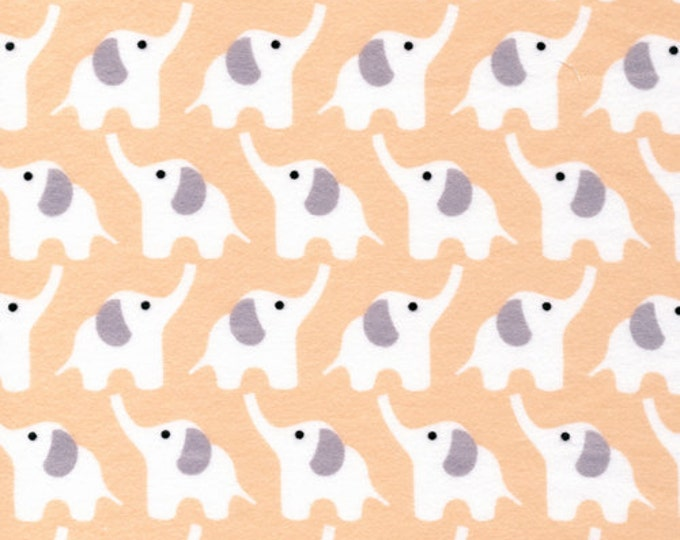Organic FLANNEL Fabric - Cloud9 Fanfare Elephants Pink