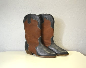 Cowboy BOOTS hipster festival indie  cowgirl womens size 6 7 rocker chic two tone leather Sbicca 1970s 90s grunge
