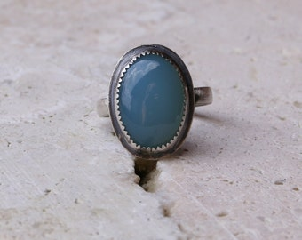 Blue Chalcedony Gemstone Metal Work Metal Smithed Oxidized Sterling Silver Earthy Rustic Woodland Statement Ring