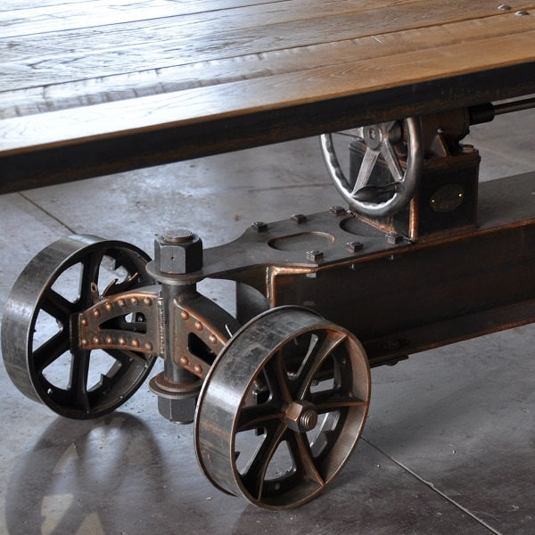 Vintage industrial train crank table by vintageindustrial for Vintage crank table