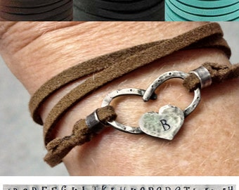 Leather Wrap Initial Horseshoe Heart  Bracelet, new colors!