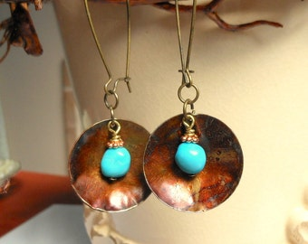 Sleeping Beauty Turquoise Earrings,Hammered Brass Earrings,Rustic Turquoise Jewelry