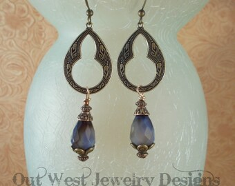 Gemstone Earrings - Faceted Blue and Brown Agate - Brass Findings