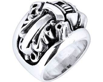 Sterling Silver Biker Ring, Dagger Ring in 925 Silver