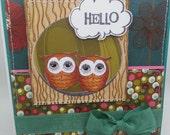 Handmade Card, Greetings, Gift, Valentine, Owl Pair