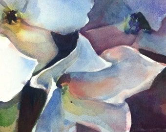 White Flowers - Floral Original Watercolor painting by SriWatercolors 11 x 30 in