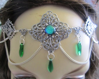 Emerald Circlet of the Spring Hope Elven Celtic Druid LARP Bridal Renaissance Cosplay
