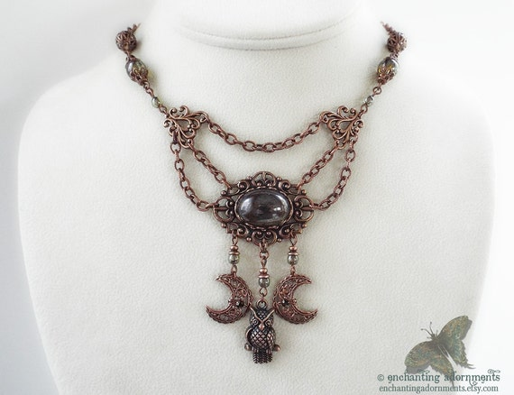 Bohemian Woodlands - Aged Copper Moon and Owl Necklace - Boho Goddess Jewelry