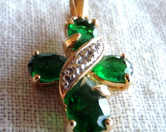 CROSS with GREEN STONES  --- Pendanat  in Sterling Silver that is Gold Plated Pendant