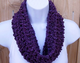 SUMMER COWL SCARF, Solid Grape Dark Purple, Small Short Infinity Loop, Crochet Knit, Soft Lightweight Neck Warmer..Large Size Available
