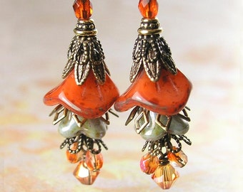 Mossy Orange Earrings Bohemian Glass Bell Flower Earrings Earthy Orange Autumn Earrings Antique Gold Brass Botanical Dangle Earrings