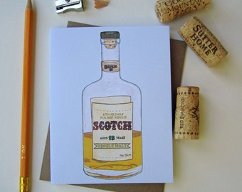 Scotch Greeting Card - Just Because Note Card - Handmade Eco Friendly Card - Blank Notecard - Cotton Cardstock - Single Card OR Set of 4