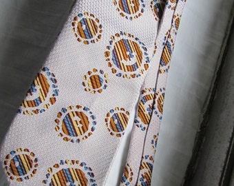 Mad Men 1950's Necktie-Cool Retro Patterned Tie-Brocade Fabric-Designer Label-Abstract Fabric Multicolored Mid Century Man's Vintage Necktie