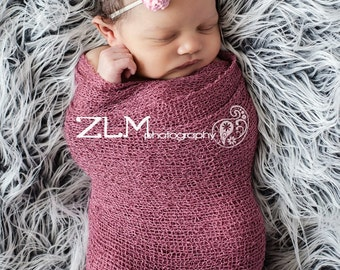 Dusty Rose Stretch Knit Wrap Newborn Photography Prop